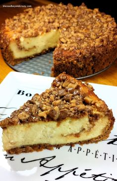 Heath Bits Cheesecake (GF Option) - this is one of the easiest cheesecake recipes ever and another family favorite. It freezes well so you can make it a few days before a party, then thaw it the day of. Perfect for a New Year's Eve party!