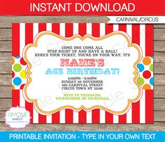 Carnival Invitation Template Free Best Of Circus Invitation Template Red Aqua Carnival Birthday Invitations, Carnival Tickets, Carnival Birthday Parties, Circus Birthday, Invitations Kids, Birthday Games, Circus Theme, Third Birthday, Birthday Ideas