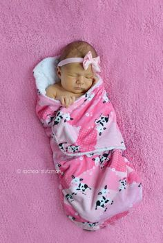 Minky swaddle blanket- white with fuscha and hot pink cow print- baby minky swaddle wrap READY TO SHIP