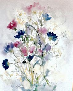 Meadow with cornflowers. Watercolour on SM.LT heavy cotton paper cold press grai fin, 31 x 41 cm. More info on www.junesgarden.se