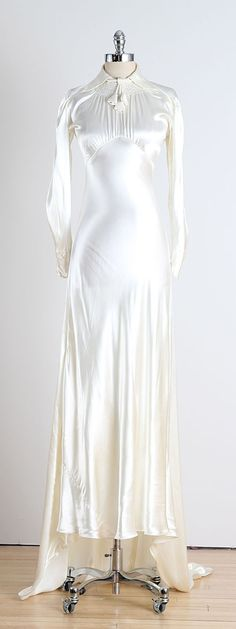 1930's Silk Satin Bell Tassle Wedding Dress