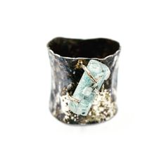 Contemporary Art:  Distressed Fine Silver sculpted ring, set with Aquamarine