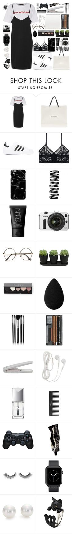 """Sin título #297"" by alita210100 ❤ liked on Polyvore featuring Love Moschino, Balenciaga, adidas, ELSE, Harper & Blake, NARS Cosmetics, Eos, Chapstick, FACES Beautiful and beautyblender"