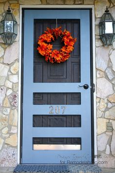 Combine two fun home decor trends, sliding barn doors and chalkboards. Build DIY sliding message doors with free plans on Remodelaholic. Ana White, Wreaths For Front Door, Door Wreaths, Front Doors, Front Porch, Garage Doors, Pantry Doors, Front Entry, Diy Wreath