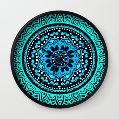Buy Blue Teal Mandala Wall Clock by haroulita. Worldwide shipping available at Society6.com. Just one of millions of high quality products available.