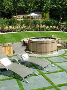 whirlpool rund holz terrasse einbauen ideen