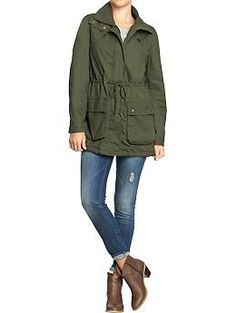 A jacket like this except a little less casual so that I could ear it to work would be ideal: Womens Canvas Military-Style Anoraks