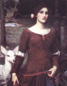 "John William Waterhouse: The Lady Clare - 1900    ""It was the time when lilies blow,  And clouds are highest up in air,  Lord Ronald brought a lily-white doe  To give to his cousin, Lady Clare.    I throw they did not part in scorn:  Lovers long-betrothed were they:  They two will wed the morrow morn,–  God's blessing on the day!  Lady Clare""  - Alfred, Lord Tennyson"