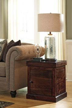 Living Room Decor: Holifern Square End Table by Ashley Furniture at Kensington Furniture. Perfect end table for a modern living room.