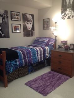 I love the sheets/comforter pattern. Purple with a hint of blue. The rug is nice too.