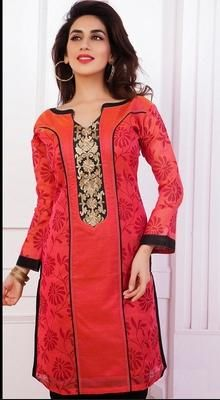Red Chanderi Cotton Silk Kurti #RedKurti #Cotton #Silk #Indian
