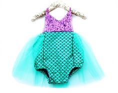 Little Mermaid Sparkle Romper With Emerald Tutu Baby Halloween Costume