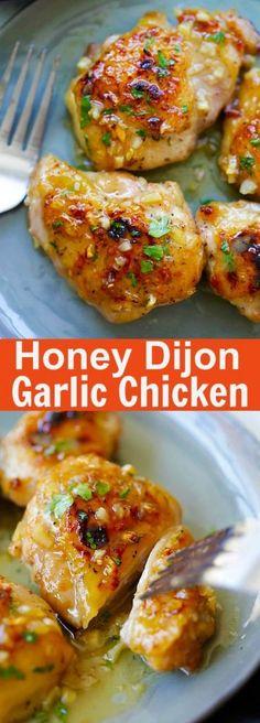 chicken breastrecipes easy Honey Dijon Garlic Chicken super delicious skillet chicken with amazing honey Dijon garlic sauce. So easy as dinner is done in 15 mins Yummy Recipes, Dinner Recipes, Cooking Recipes, Healthy Recipes, Cooking Games, Free Recipes, Dinner Ideas, Garlic Chicken Recipes, Dining