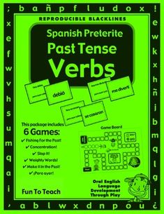 Spanish Preterite Past Tense Verbs- Copy, cut, and play! Games and Lesson Plans Spanish Preterite Past Tense Verbs includes great grammar based games and lesson plans to practice the preterite past tense in Spanish. These Spanish grammar games and activi Verb Games, Grammar Games, Grammar Activities, Grammar And Vocabulary, Spanish Grammar, English Grammar, Class Games, Speech Activities, Reading Activities