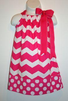 Pink chevron dress Pillowcase dress girls dress Easter dress Chevron dress Polka dot dress Church dress READY TO SHIP. $26.00, via Etsy.