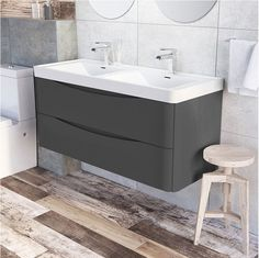 Grey Gloss Bathroom Furniture New Vanities Double Vanity Unit Wall Mounted Grey Gloss Basin Sink Bathroom Vanity Units Uk, Bathroom Vanities For Sale, Sink Vanity Unit, Bathroom Ideas, Wood Bathroom, Bathroom Fixtures, Bamboo Bathroom, Small Bathrooms, Bathroom Cabinets