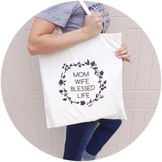 Mom.Wife.Blessed.Life™ tote bag ready to ship by ShopTaylorTots