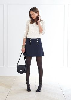 white lace blouse + navy sailor skirt