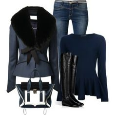 Love the jacket and black & blue combo