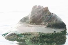 Retrato dupla exposição de uma mulher e de um lago cercado por montanhas   Victor Tongdee