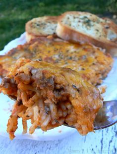 Spaghetti Casserole - has some different ingredients but it says it's really good. Might be my way to get Kyle to like spaghetti like the rest of us, then we could eat it more! :)
