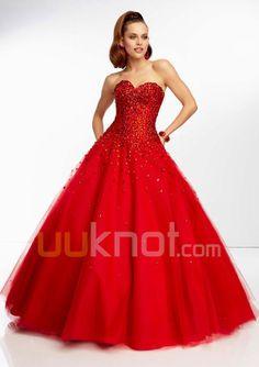 Ball Gown Sweetheart Floor Length Tulle Prom Dress - UUknot.com
