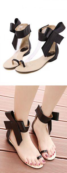 Black Ankle Bowtie Toe Post Flat Sandals