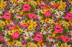Amazing Bright Bold Wildflower Garden- Vintage Fabric Daisies New Old Stock 60s 70s on Etsy, $17.53 AUD