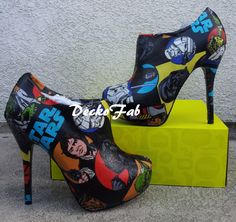 High Heel Boots Made From Star Wars Fabric by DeckoFab on Etsy