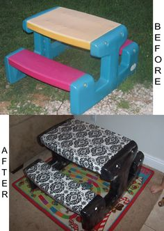 Fisher Price kids picnic table- unscrew/take apart, spraypaint table, take fabric and cover. Follow with clear plastic cover. Put  back together....done!