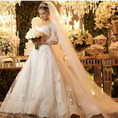 Desi Wedding Dresses, Elegant Wedding Dress, Bridal Dresses, Wedding Gowns, Beautiful Gowns, Beautiful Bride, Long Sleeve Wedding, Wedding Designs, Marie
