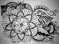 #zentangle for the day 10/15/16 #sketch #doodle #floral #sharpie #micron #bw #mandala By Amy Raymond