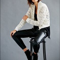 Eyelit Bomber Jacket Found the look: An open-knit bomber jacket looks sweet and feminine, constructed from panels of lace and eyelet. Ribbed edges. Exposed front zip. Unlined. This is such a versatile jacket! Throw it over your street wear or pair it with that gorgeous maxi in your closet and booties for an evening out. Free People Jackets & Coats Utility Jackets