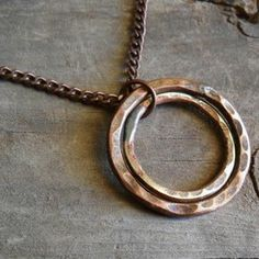 Two-Ring Brass And Copper Necklace