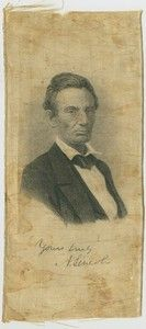 President Abraham Lincoln 1860 Campaign Silk Ribbon (3 1/4 in. x 7 in.).  *s*