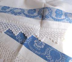 antique damask hand towel edged in filet crochet