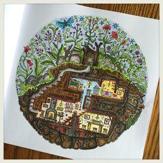 Book: Secret Village by Sarah Janisse Brown. Medium: Faber Castell Pitt Artist Pens and Polychromos pencils