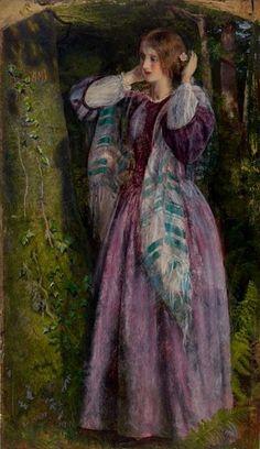 Arthur Hughes (Bristish Pre-Raphaelite painter) 1832 - 1915, The Long Engagement - Amy (a Study), 1853-59, oil on canvas, 32.5 x 19.2 cm.  Birmingham Museums and Art Gallery, UK