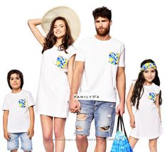 Matching Family Tshirts, Family Tees, Matching White Tshirts, White Summer Tees, Matching Family Outfit, Family Set Shirts, Matching Beach Matching Family Pajamas, Matching Family Outfits, Retro Outfits, Girl Outfits, Summer Family Photos, Family Tees, Family Picture Outfits, Matches Fashion, Toddler Fashion