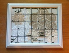 DIY picture frame calendar with doilies