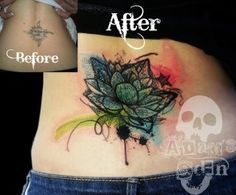 Coverup tattoo... Lotus flower with a funky edge
