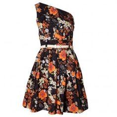 one shoulder floral print dress