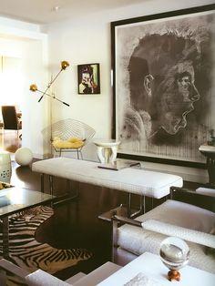Harry Bertoia Diamond chair and Milo Baughman armchairs and bench. Stilnovo floor light. Interior design by Ron Woodson and Jaime Rummerfiel...