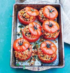 Greek rice-stuffed tomatoes - looking delicious