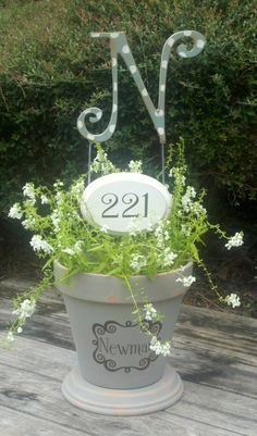 Custom Monogram Flower Pot with House/Address number by TheBeachyCottage on Etsy