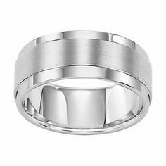#ZALES - #Frederick Goldman Inc Triton Men's 9.0mm Comfort Fit White Tungsten Wedding Band - AdoreWe.com