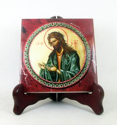 Saint John the Baptist collectible catholic icon on ceramic tile a perfect devotional gift religious icon religious art St John the Baptist