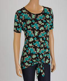 Look at this #zulilyfind! Green Floral Tie-Hem Crewneck Top #zulilyfinds