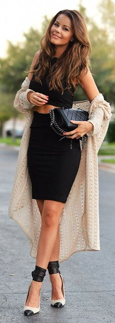 Cream Crochet Long Line Cardigan by Stylista