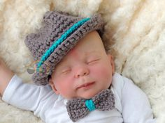 Newborn Crochet Fedora Baby Boy or Girl Bowler by BrightCrochet, $20.00